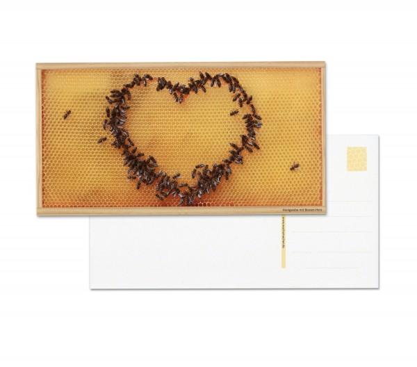 Postkarten: Motiv Bienen-Herz (5 Stück)