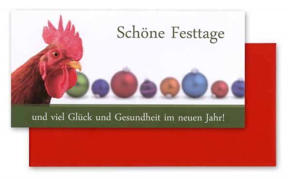 Grußkarten SCHÖNE FESTTAGE, Motiv Hahn vor Weihnachtskugeln